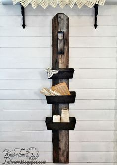 Repurposed Antique Barn Pulley & Bread Pans unto a Unique set of Wall Bins  ~~~via Knick of Time