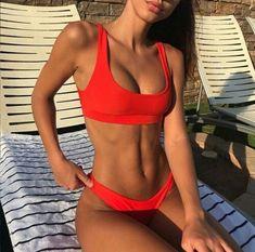 orange red bikini summer tan body goals lounge by pool fitness Bikini Babes, Brasilianischer Bikini, Bikini Girls, Crop Top Bikini, Bikini Beach, Beach Bum, Bandeau Bikini, Summer Beach, Spring Summer