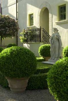 .Containers filled with beautiful boxwood and lovely statue.       t