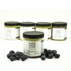 Blueberry Sea Salt Body Scrub - made with real blueberry seeds! Handmade by Naki Nagi, home of the best handmade body scrubs!