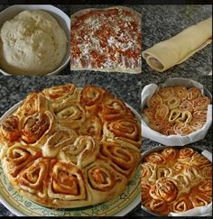200g circa di mozzarella 300g di pomodorini datterini tagliati a dadini o passata di pomodoro sale e pepe q.b. -origano -olio Preparazione Stendere della pasta per pizza,fatta in casa oppure comprata gia' pronta;farcirla con gli ingredienti che avete scelto;una spolverata di origano,,un po' di sale e pepe,Arrotolate piano piano l'impasto su se stesso.Tagliate a rondelle il rotolo e posizionarle su di una teglia una vicino all'altra lasciando riposare la rosa per una ventina di…
