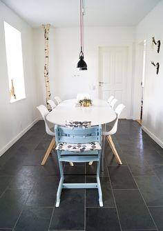 dining room, black, white and wood, blue trip trap, scandinavian, scandistyle, interior