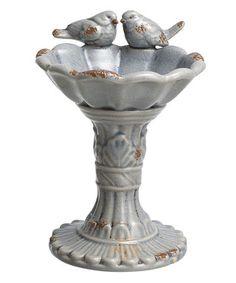 Gray Love Bird Pedestal Bird Feeder