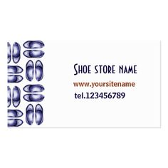 Shoe shopping design, navy blue pen drawn, pack of standard business cards