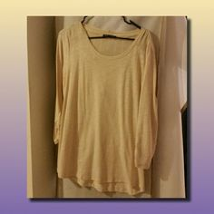 Casual/Dressy linen-style top This tan top has a linen feel with a unique design on the shoulders and the top back line.  The 34-length sleeves have a scrunch hold, and it has never been worn before... took tags off too soon :-/ Cable & Gauge Tops