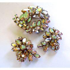 Rhinestone Pastel AB Brooch Earring Set, SHERMAN, Rhinestone Flowers,... ($102) ❤ liked on Polyvore featuring jewelry, earrings, pastel jewelry, blossom jewelry, vintage earrings, vintage rhinestone earrings and flower earrings