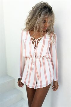 Floyd Stripe Playsuit #SABOSKIRT