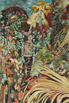 Hernan Bas, Case study (Anton, Feral child), 2014 acrylic on linen 72 x 60 inches 182.9 x 152.4 cm Courtesy the artist and Lehmann Maupin, New York and Hong Kong Photo by Daniel Portnoy