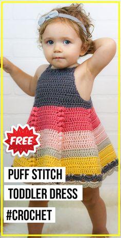 crochet Puff Stitch Toddler Dress free pattern : crochet Puff Stitch Toddler Dress free pattern - easy crochet dress pattern for beginners Crochet Baby Dress Free Pattern, Crochet Toddler Dress, Toddler Dress Patterns, Crochet Dress Girl, Crochet Bebe, Crochet For Kids, Easy Crochet, Toddler Knitting Patterns Free, Skirt Patterns