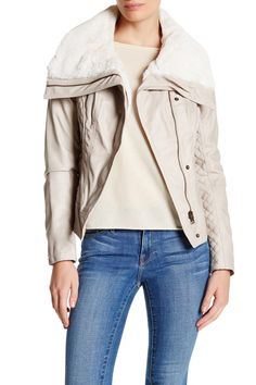 Faux Shearling Collar Faux Leather Moto Jacket by GUESS on @nordstrom_rack