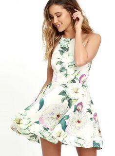 Halter Sleeveless Backless Floral A-line Mini Dress - AZBRO.com fff333a28