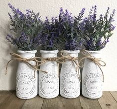 Farmhouse Milk Bottles / Country Milk Bottles / Rustic Milk Bottles / Farmhouse Decor / Country Decor / Rustic Decor / Farmhouse Style Decor A beautiful set of 4 milk bottles, lightly distressed paired with gorgeous lavender flowers! Country Farmhouse Decor, Farmhouse Style Decorating, French Country Decorating, Rustic Decor, Primitive Country, Modern Farmhouse, Country French, Vintage Farmhouse, Primitive Kitchen