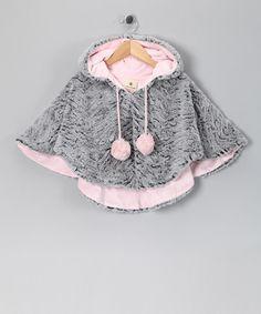 Take a look at this Million Polkadots Pink & Gray Zebra Pom-Pom Poncho - Infant, Toddler & Girls on zulily today!