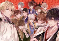 Ikemen Sengoku. Nobunaga, Mitsunari, Hideyoshi, Ieyasu, Mitsuhide, Masamune, Yukimura, Kenshin, Shingen, Sasuke and Kennyo. Happy 2018! Here's a new pic of the Ikemen Sengoku Boys.