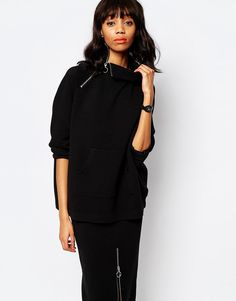 Monki+Ribbed+Sweat+with+Zip+Detail