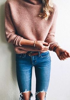 #winter #outfits beige knit sweater and distressed blue denim jeans