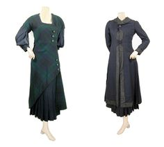 Unusual coat and dress ensemble from about 1910. American. Dress is of Black Watch plaid wool, buttoning obliquely at left side with asymmetrical hem revealing navy pleated wool half-skirt. Navy chiffon sleeves. Coat is navy blue wool with a plaid silk lining and navy moiré band trim.