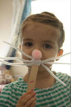 DIY: Quick and easy. A pink pom-pom for the nose, 3 large pipecleaners, and a tongue depressor. Could use for Reader's Theater, a skit, or ....