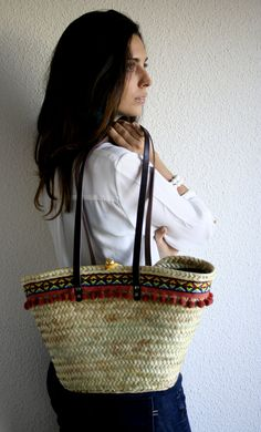 Straw Bag for City. Basket / Capazo / Tote/ Casual by MIMEYCO #bag #print #tassels