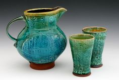 Paul Linhares Paddled Pitcher and Cups