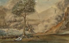 Juanambú año de 1814. Acuarela de José María Espinosa Prieto, ca.  1848. Colección Museo Nacional de Colombia. Reg. 7151. Fotografía Samuel Monsalve Parra