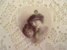 Super Unique Double Sided Porcelain Heart Jewelry Focal/Beautiful Mother and Daughter Tribute