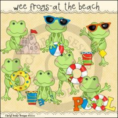 Wee Frogs At The Beach 1 - Clip Art by Cheryl Seslar