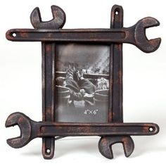 Reclaimed Wrench Motif Rust Brown Resin Frame