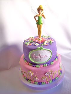 Tinkerbell Party Theme, Tinkerbell Birthday Cakes, Fairy Birthday Cake, 1st Birthday Themes, Birthday Cake Girls, Birthday Parties, Fairy Garden Cake, Garden Cakes, Fairy Cakes