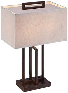 Lite Source Farren 2-Outlet Dark Bronze Table Lamp - #7N603   www.lampsplus.com
