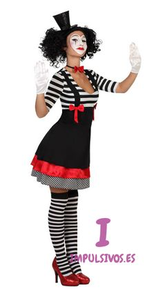 S M L Clown Kostüm Harlekin Pierrot Narr Pantomime Kleid Gr. S M L - Kostüm Damen Mime Costume, Costume Carnaval, Creepy Costumes, Horror Costume, Girl Costumes, Costumes For Women, Costume Dress, Halloween Outfits, Halloween Make Up