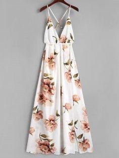 Slit Floral Criss Cross Maxi Dress - White M