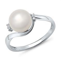 585er Weißgold-Ring Perle mit 4 Diamanten 0,028 ct.