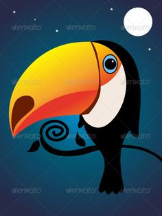 Printable Toucan Outline | toucan 4728588 stock vector characters animals night toucan ...