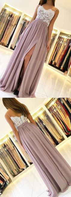 Dusty Pink Chiffon Prom Dresses,Lace Full Length Party Dresses,Spaghetti Straps Prom Evening Dresses with Side · LaviDress · Online Store Powered by Storenvy Grey Prom Dress, A Line Prom Dresses, Grad Dresses, Homecoming Dresses, Evening Dresses, Formal Dresses, Junior Prom Dresses, Long Dresses, Dresses Dresses