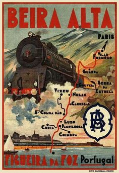 Railway travel poster from Portugal in the C. Vintage Advertising Posters, Retro Poster, Vintage Travel Posters, Vintage Advertisements, Vintage Ads, Train Posters, Railway Posters, Travel Ads, Train Travel