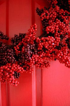 x - Berry Wreath ~ Details I See Red, Berry Wreath, Red Wallpaper, Simply Red, Aesthetic Colors, Red Walls, Over The Rainbow, Shades Of Red, Ruby Red