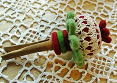 Vintage doily topped Pincushion by woolly  fabulous, via Flickr