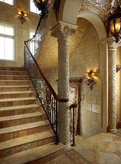 Chris Cline's North Palm Beach mega-mansion hallway. Luxury Interior Design, Interior And Exterior, Boutique Interior, My Home Design, House Design, Beautiful Interiors, Beautiful Homes, Palm Beach, Beach Mansion