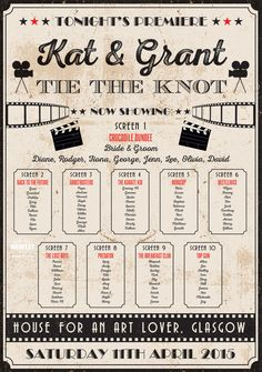 Ideas For Wedding Table Plan Movies Cinema Themed Wedding, Movie Theater Wedding, Wedding Table Themes, Wedding Table Seating, Wedding Movies, Wedding Film, Wedding Guest Book, Diy Wedding, Wedding Favors
