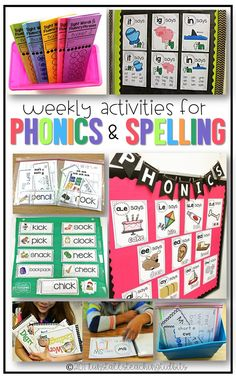 weekly activities for spelling and phonics first grade kindergarten First Grade Phonics, First Grade Reading, First Grade Classroom, Kindergarten Reading, Teaching Reading, Guided Reading, Teaching Ideas, Kindergarten Phonics, Reading Resources