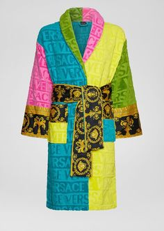 Multicolor I ♡ Baroque Bathrobe by Versace Home. Featuring a faint textural Versace logo print and accented by a Barocco printed sleeve and wrap belt, this soft and iconically covered bathrobe exudes luxury.