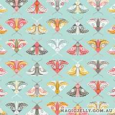 Flutter design in pastel, part of the Lilium collection, by Magic Jelly on Spoonflower Pattern Paper, Fabric Patterns, Print Patterns, Bugs And Insects, Surface Pattern Design, Beautiful Butterflies, Repeating Patterns, Spoonflower, Blue Things