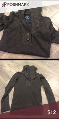 American Eagle Hooded Top Long sleeve. Dark gray. Worn 2x. American Eagle Outfitters Tops