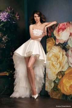 alena goretskaya bridal 2014 gella strapless high low mullet wedding dress