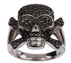 David English Diamonique Legacy Skull and Crossbones Sterling Ring ~ Love it !
