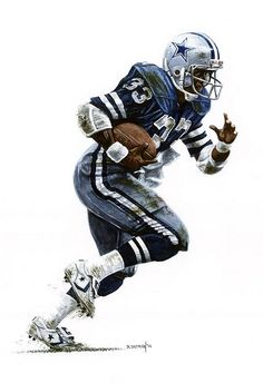 "Dallas Cowboy Tony Dorsett by Bruce Tatman 12"" X 17"" watercolor on Arches 140 lb. paper"