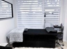 Play it safe with Black and White 🖤 - They're the most versatile and flexible colors. - ▪️ Use black and white as your main colors (walls,… Spa Room Decor, Beauty Room Decor, Beauty Salon Decor, Eyelash Extensions Salons, Facial Room, Tech Room, Esthetics Room, Salon Interior Design, Home Salon