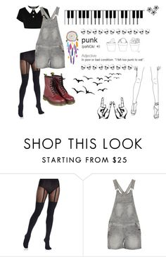 """""""S.E.X."""" by beccaconnor ❤ liked on Polyvore featuring Pretty Polly, Morgan, Dr. Martens and Barlow"""