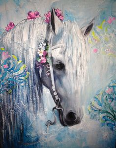 Handpainted Magical, white and turquoise horse in textured mix media with flower… Handpainted Magical, white and turquoise horse in textured mix media with flowers on bridle and decorative damask bas relief overlay. Unicorn Horse, Unicorn Art, Horse Drawings, Art Drawings, Horse Wallpaper, Painted Horses, Watercolor Horse, Horse Artwork, Unicorns And Mermaids